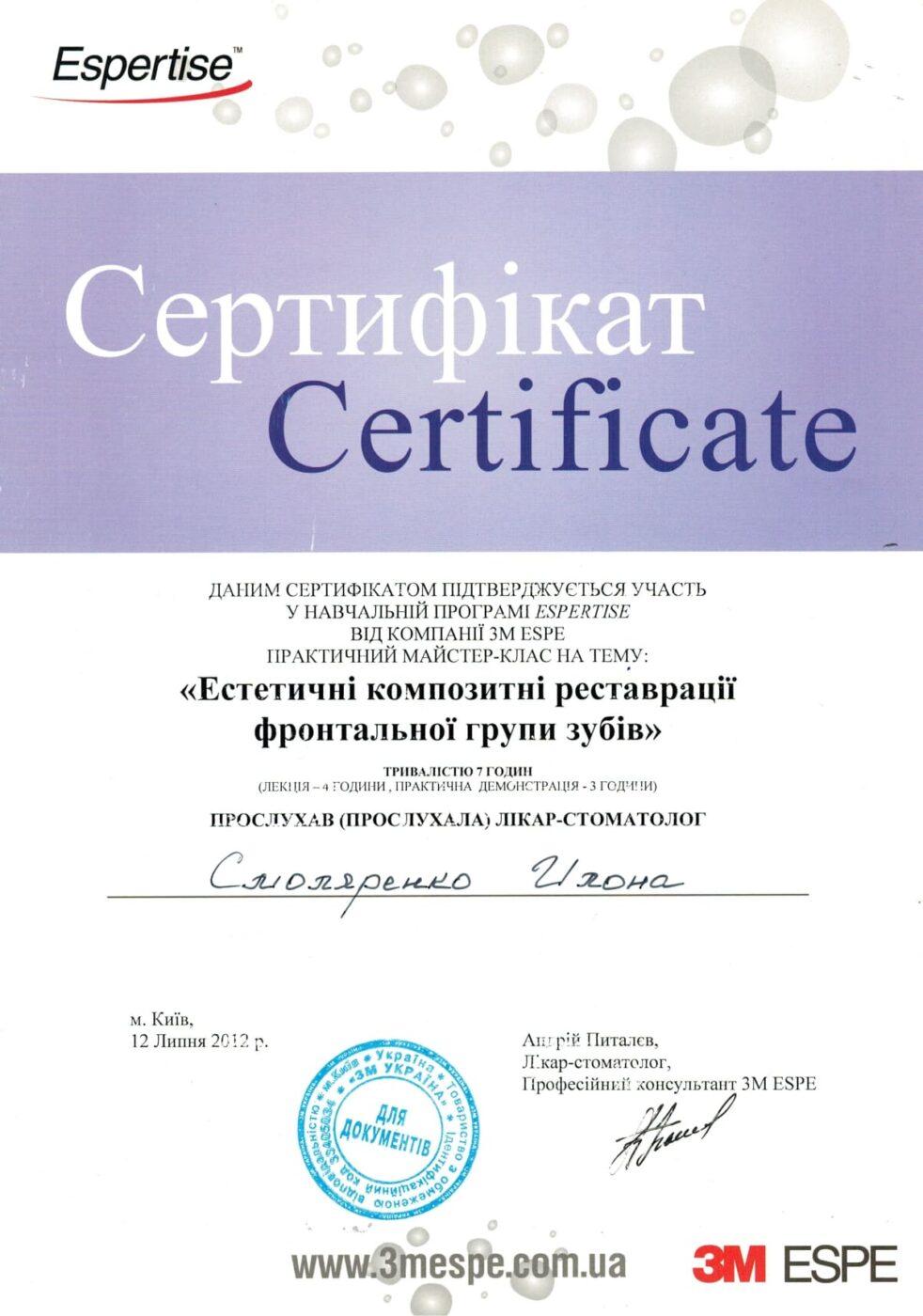 Сертификат подтверждающий участие Илоны Смоляренко в мастер классе