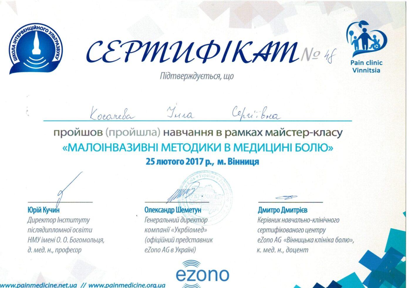 Сертифікат дитячого лікаря анестезіолога Косачевої Інги Сергіївни об участі у курсі (Малоінвазивні методики в медицині болю)
