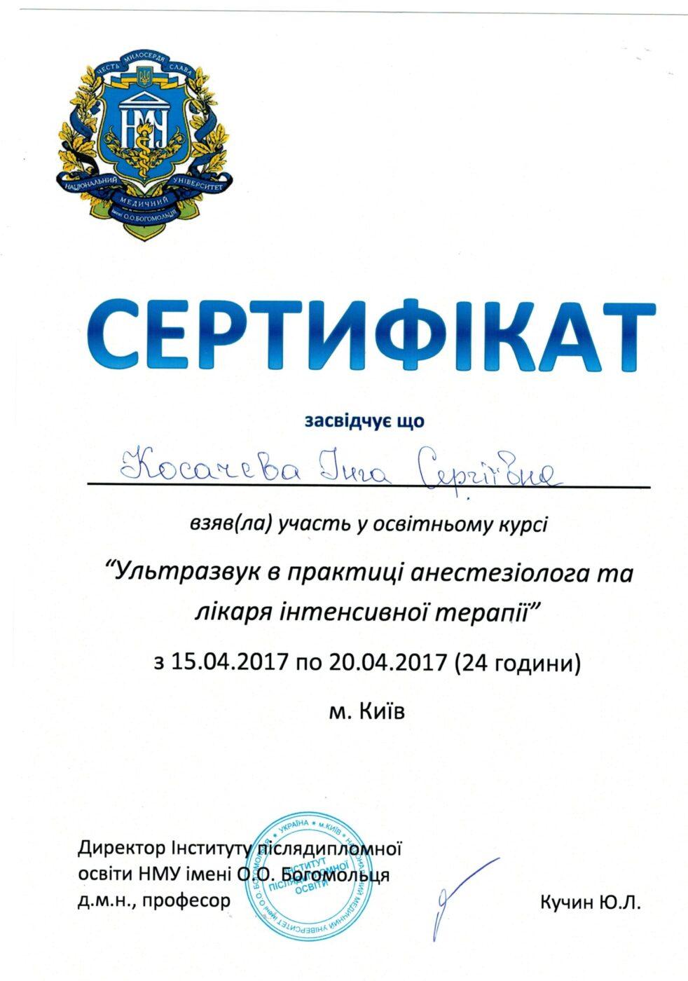 Сертифікат дитячого лікаря анестезіолога Косачевої Інги Сергіївни об участі у курсі (Ультразвук в практиці анестезіолога та лікаря інтенсивної терапії)
